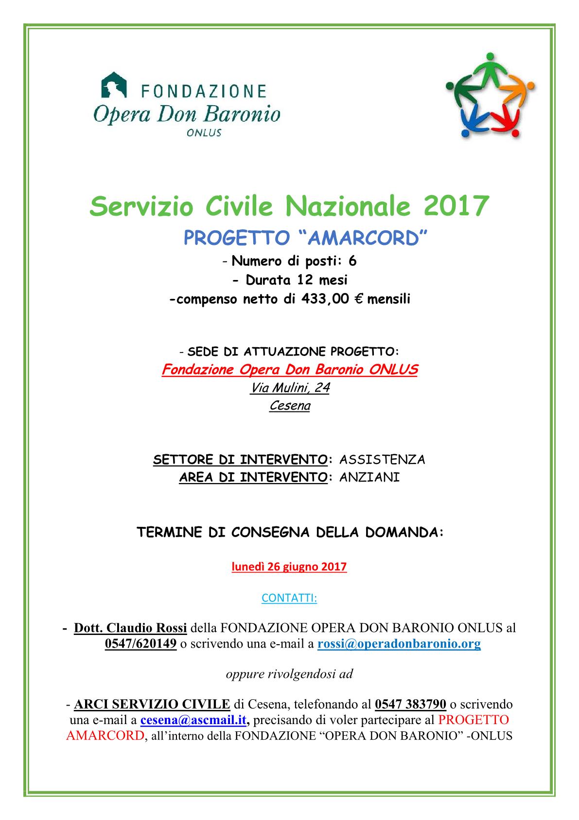 BANDO PER SERVIZIO CIVILE NAZIONALE 2017 PRESSO IL CENTRO RESIDENZIALE ANZIANI DELLA FONDAZIONE