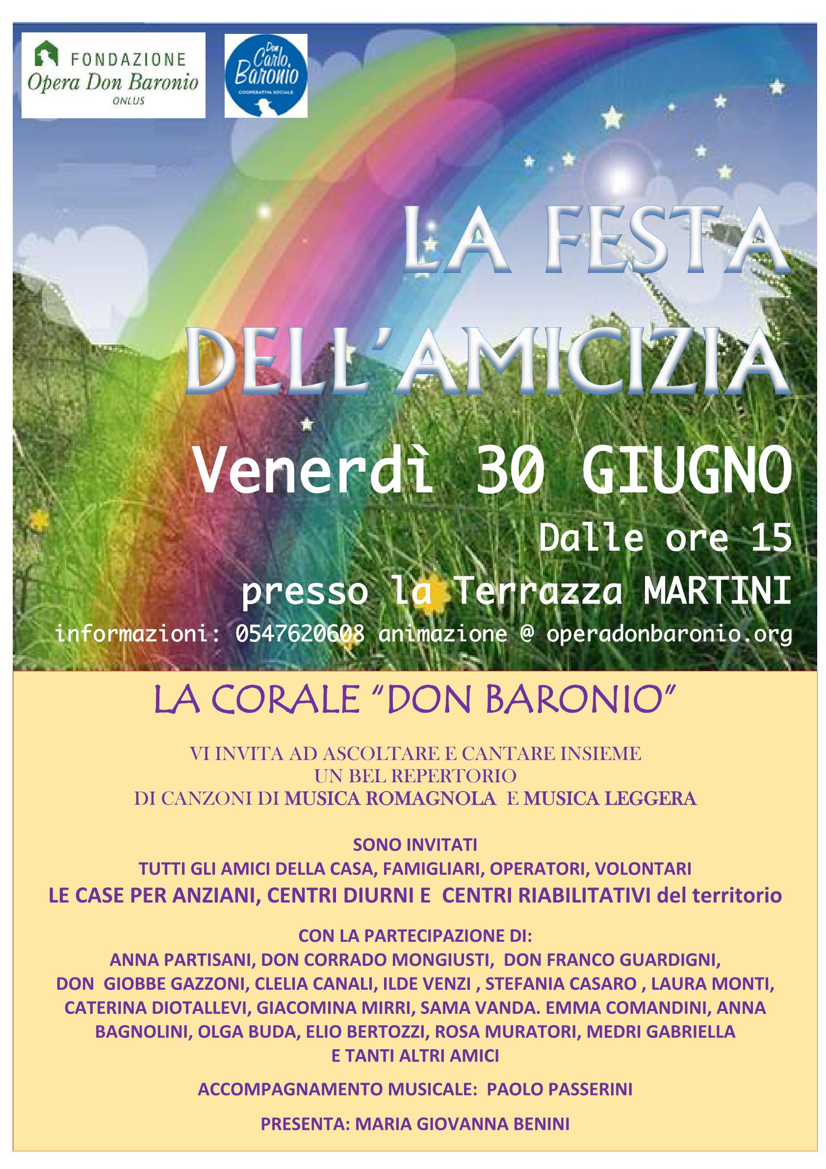 Locandina Festa Dell'amicizia 30 Giugno20171