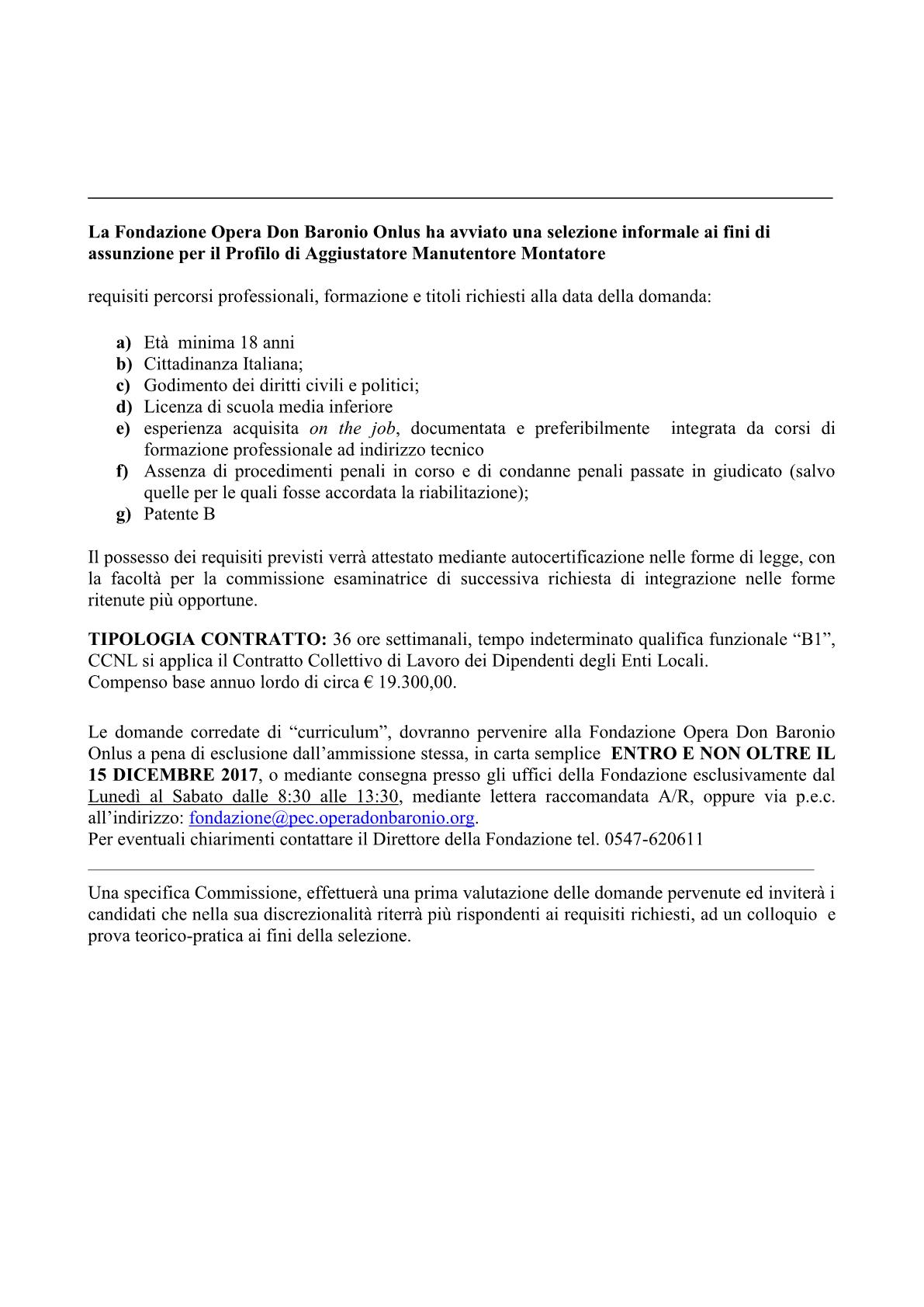 BANDO PER ASSUNZIONE PROFILO DI AGGIUSTATORE MANUTENTORE MONTATORE